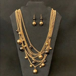 Layered chain gold ball necklace earrings set